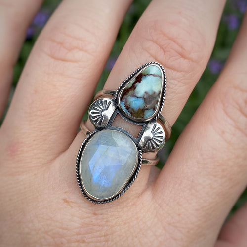 Rainbow Moonstone & Lavender Turquoise Ring / Size 9