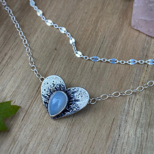 "Moonstone Heart Layered Necklace / 15.5""-16.5"""