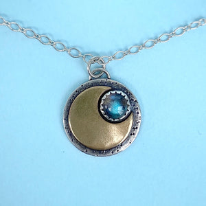 "Mini Moon Necklace - Labradorite / 18"" / Made to Order"