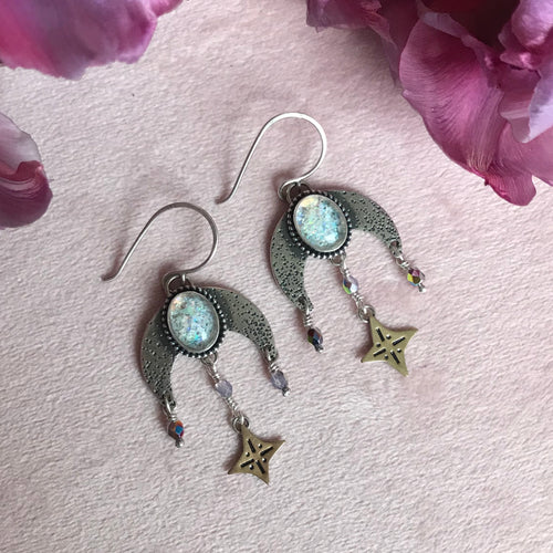 Opal Flake Triplet Dangling Moon & Star Earrings