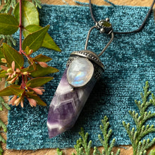 Load image into Gallery viewer, Chevron Amethyst Crystal Point Pendant