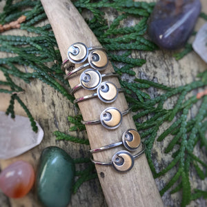Mixed Metal Mini Moon Ring / Made to Order