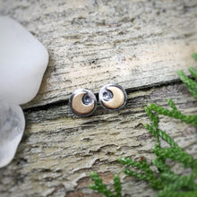 Load image into Gallery viewer, Mixed Metal Mini Moon Studs / Made to Order