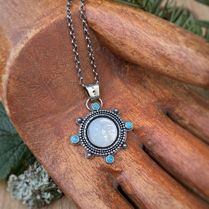 Mother of Pearl Moon Man Necklace / 20""