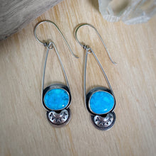 Load image into Gallery viewer, Kingman Waterweb Turquoise Long Dangle Earrings