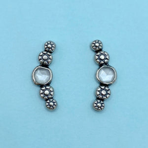 Cosmos Ear Climbers - White Moonstone / Made to Order