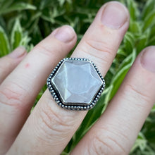 Load image into Gallery viewer, Rose Quartz Hexagon Ring / Size 7.5-7.75