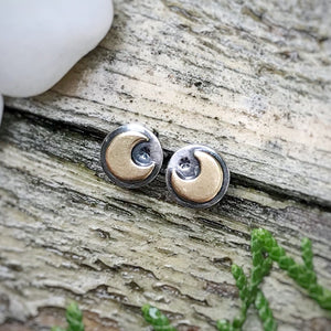 Mixed Metal Mini Moon Studs / Made to Order