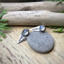 Load image into Gallery viewer, Rainbow Moonstone Spike Studs / Made to Order