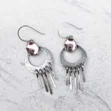 "Load image into Gallery viewer, Pink Vintage Glass ""Waning Moon"" Fringe Earrings"