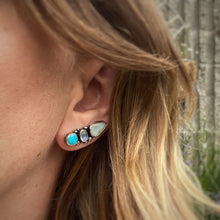 Load image into Gallery viewer, Blue Ridge Turquoise, Larimar, & Rainbow Moonstone Ear Climbers