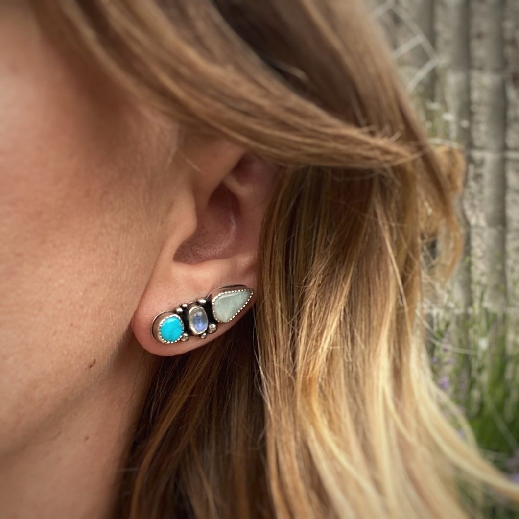 Blue Ridge Turquoise, Larimar, & Rainbow Moonstone Ear Climbers