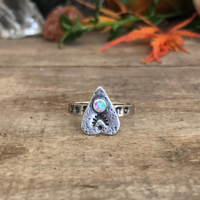Light Pink Synthetic Opal Ouija Ring / Size 6