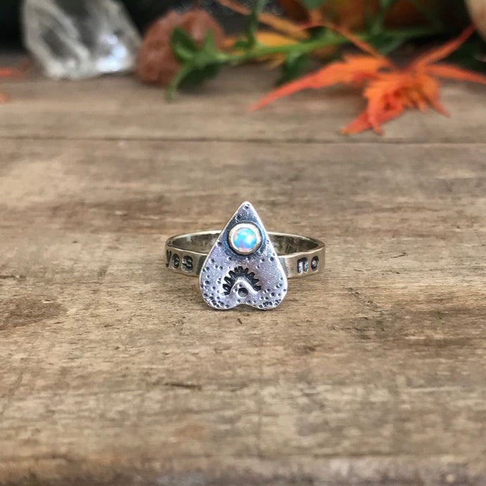 Light Blue Synthetic Opal Ouija Ring / Size 7.75