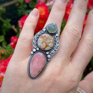 Fawn Stone Statement Ring / Size 7.25
