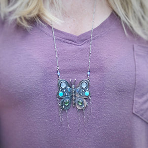 Bejeweled Butterfly Fringe Pendant / 30""