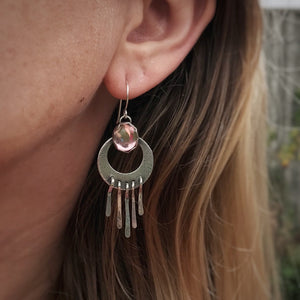 "Pink Vintage Glass ""Waning Moon"" Fringe Earrings"