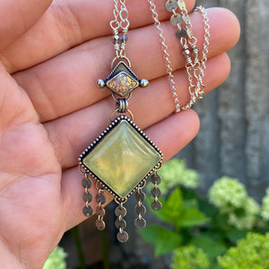 Vintage Glass & Yellow Prehnite Long Necklace / 26""