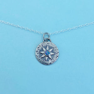 "Compass Necklace - Opal / 16"" / Made to Order"