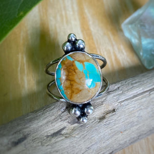 Crow Springs Turquoise Dots Ring / Size 7-7.25