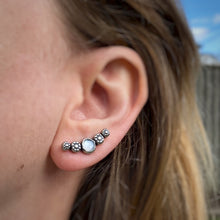 Load image into Gallery viewer, Cosmos Ear Climbers - White Moonstone / Made to Order