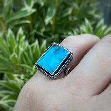 Load image into Gallery viewer, Turquoise Rectangle Ring / Size 6.25