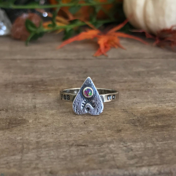 Bright Pink Synthetic Opal Ouija Ring / Size 9