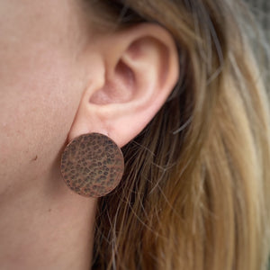 Oversized Hammered Copper Studs / Made to Order