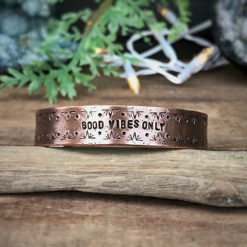 """Good Vibes Only"" Copper Cuff Bracelet"