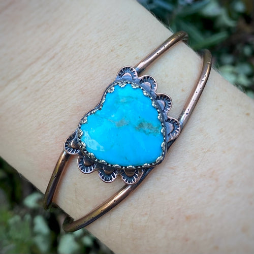 Turquoise & Copper Heart Cuff
