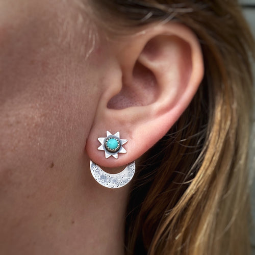 Star & Moon Ear Jacket Set - Turquoise / Made to Order