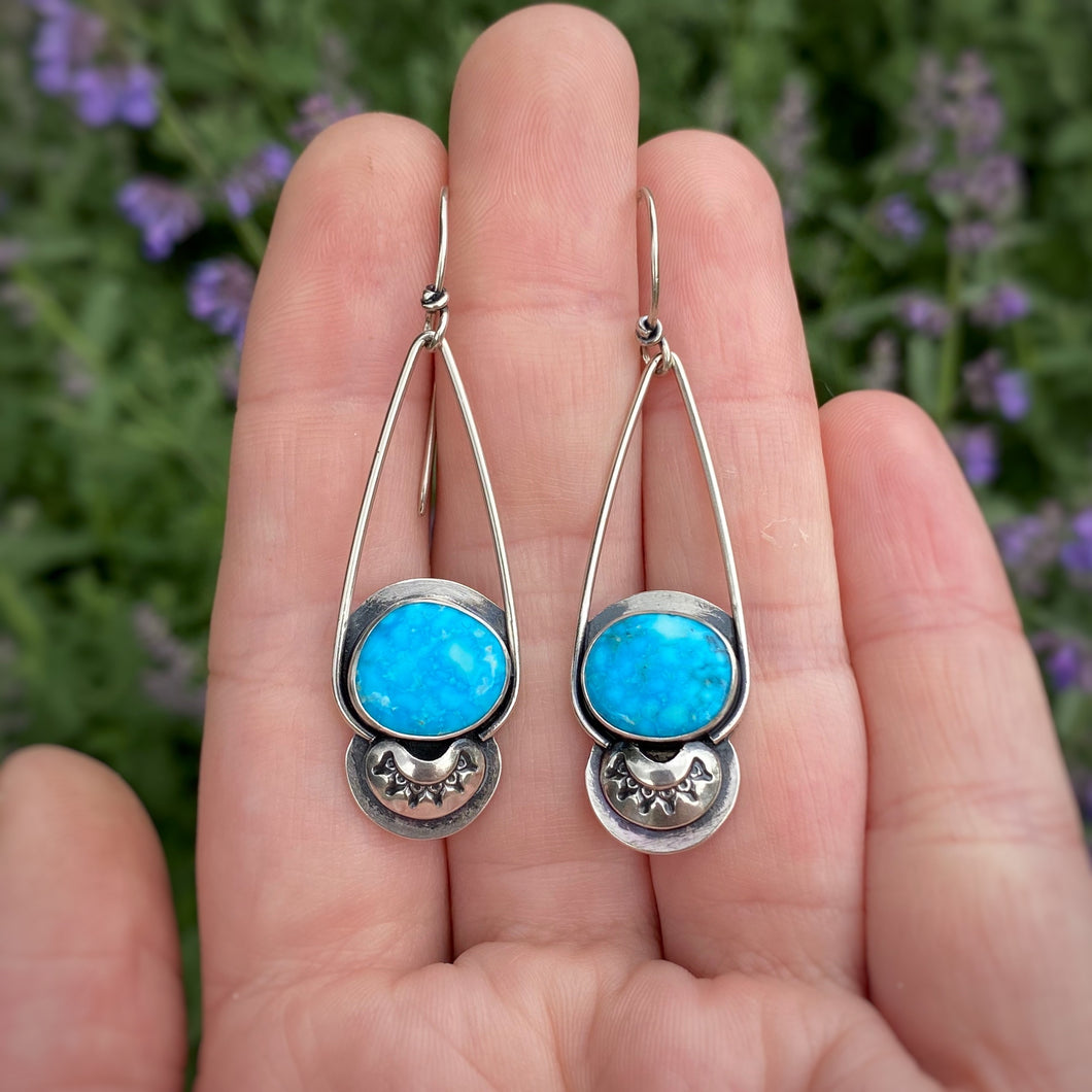 Kingman Waterweb Turquoise Long Dangle Earrings