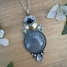 Load image into Gallery viewer, Black Sunstone, Onyx, & Moonstone Necklace / 28""