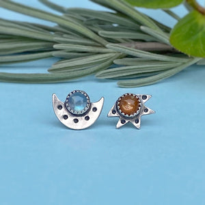 Sun & Moon Studs / Made to Order