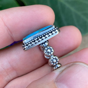 Turquoise Rectangle Ring / Size 6.25