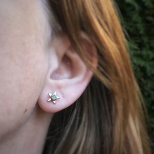 Malachite & Brass Star Studs