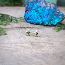 Load image into Gallery viewer, Malachite & Brass Star Studs