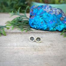 Load image into Gallery viewer, Stamped Evil Eye Studs / Made to Order
