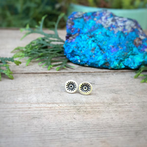 Stamped Evil Eye Studs / Made to Order