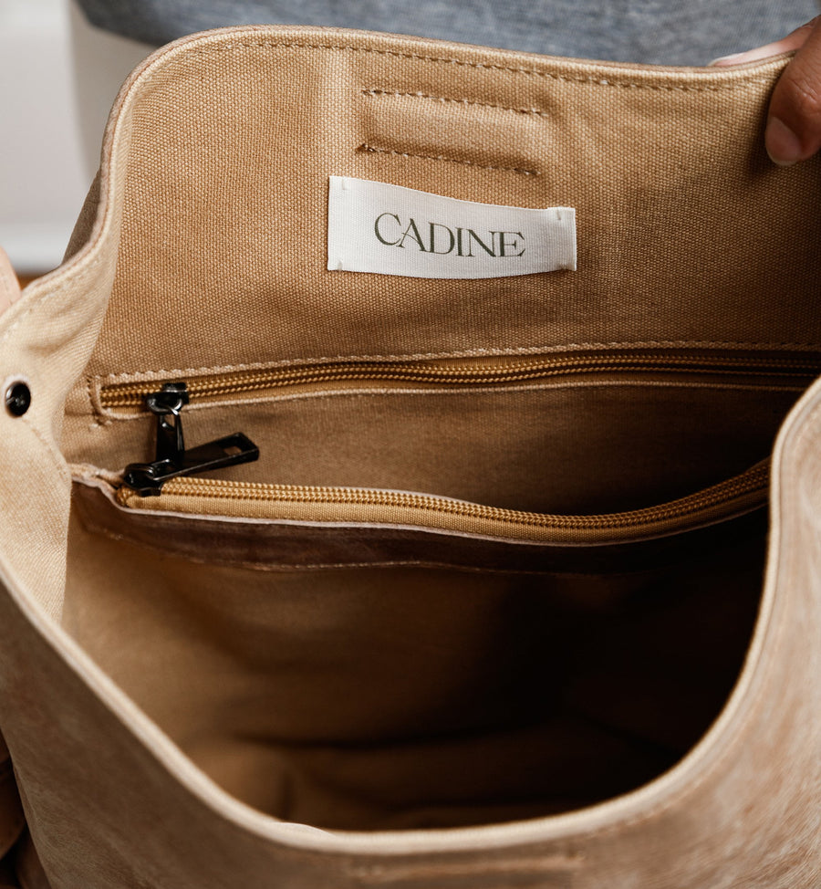 Cadine Convertible tan genuine leather bag