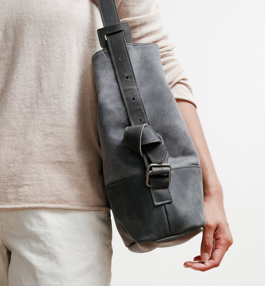 Cadine Convertible grey genuine leather bag