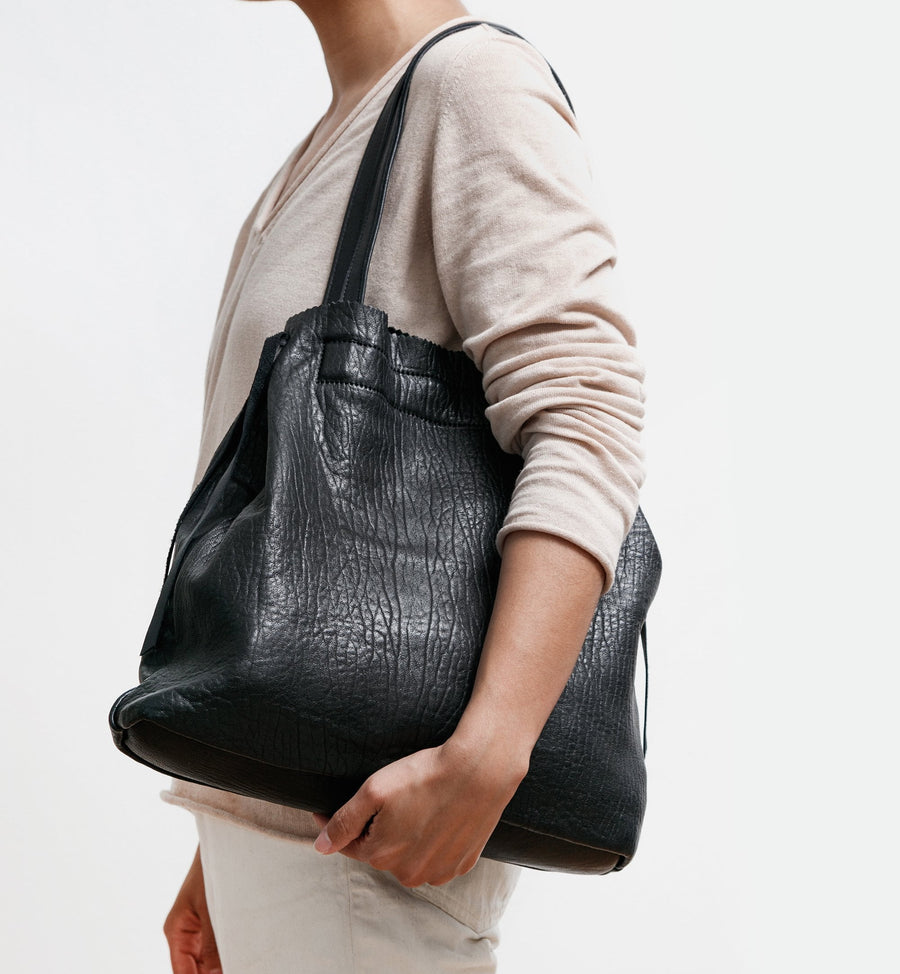 Cadine Everything genuine black leather tote bag