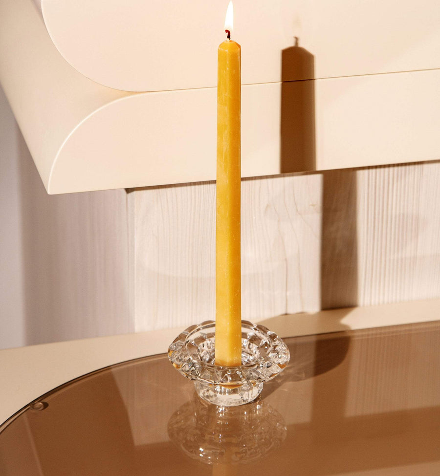 Hexagonal Taper Beeswax Candle (Set of 4) - Gold Dust