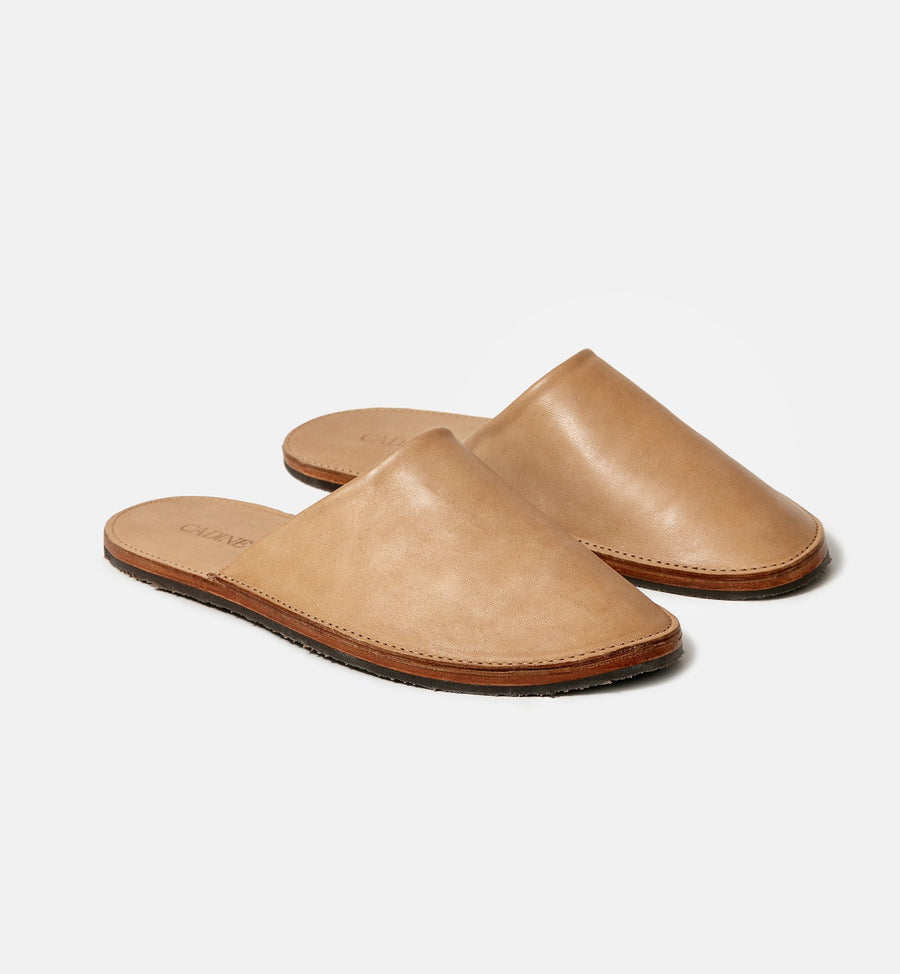 Cadine Unisex Homebody sand genuine Italian leather slides
