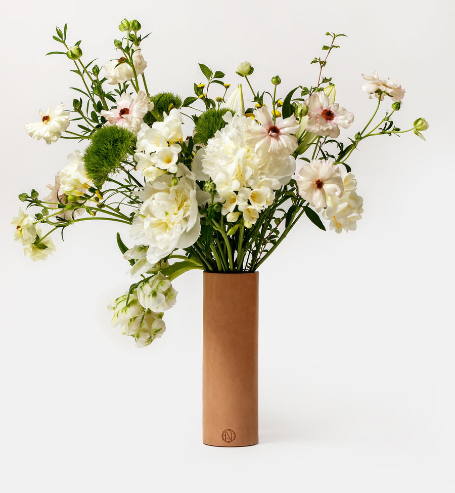 Cadine Signature fresh floral bouquet  in leather vase