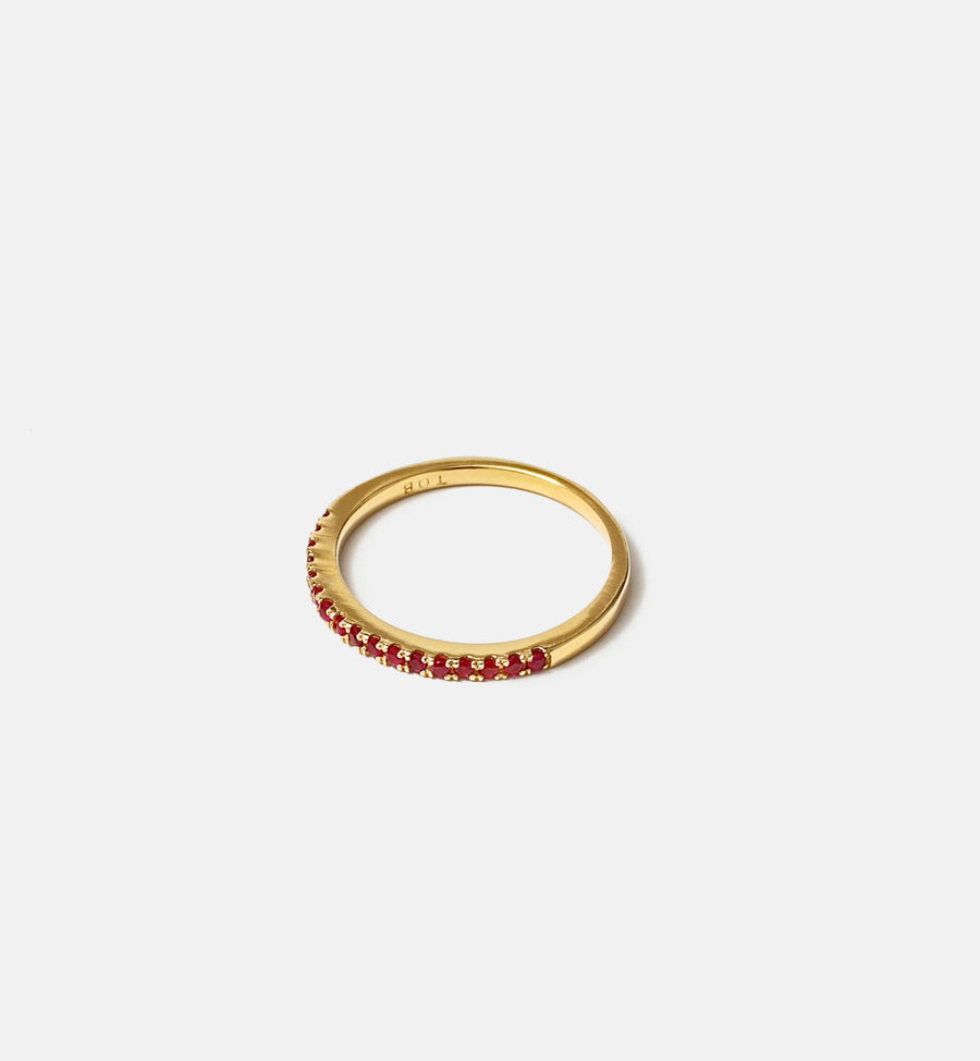 Cadine ruby gemstone semi-eternity 14kt solid gold ring