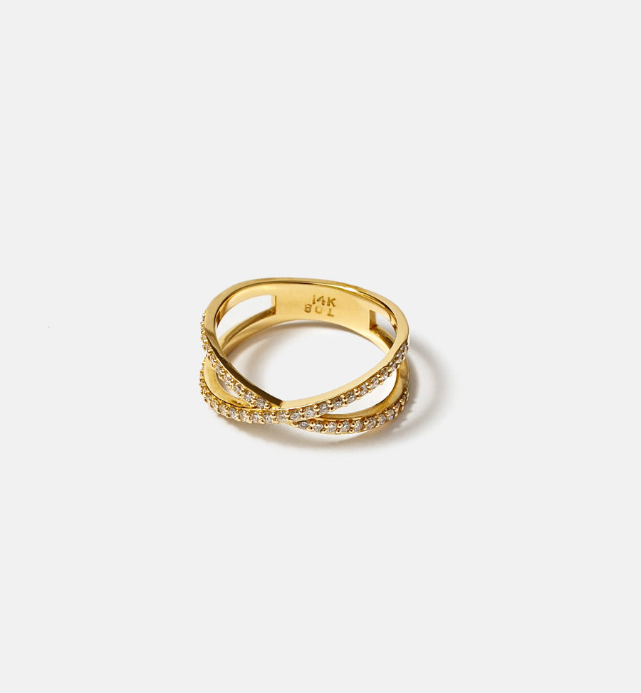 Cadine 14kt solid yellow gold ring with X design
