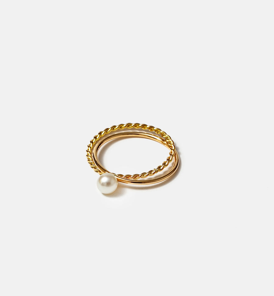 Cadine genuine pearl and intertwined 14kt solid gold ring