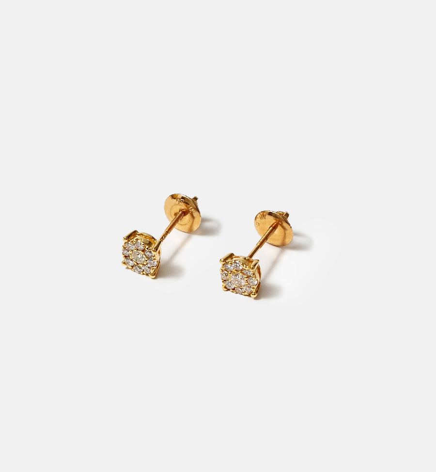 Cadine diamond cluster 14kt solid gold stud earrings