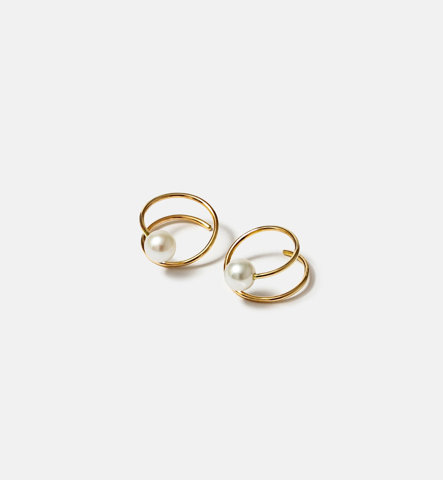 Cadine genuine pearl and 14kt solid gold spiral earrings